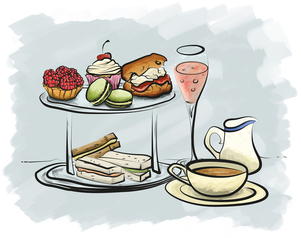 Afternoon Tea Invite Illustration Sam Atchison