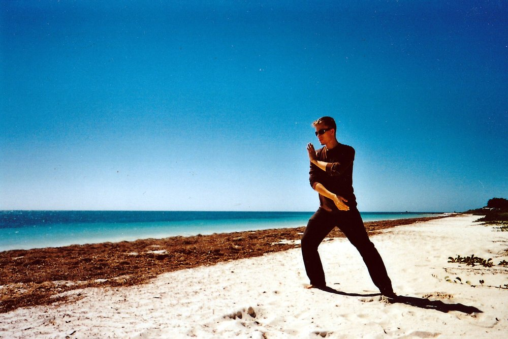 Tai Chi alone on the beach, way back in Florida!