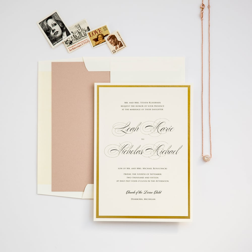 Champagne Press Lovely in Lux Wedding Invitation