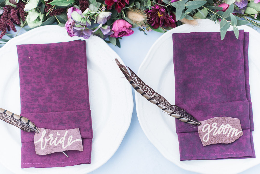 Hand Lettered Leather Placecards