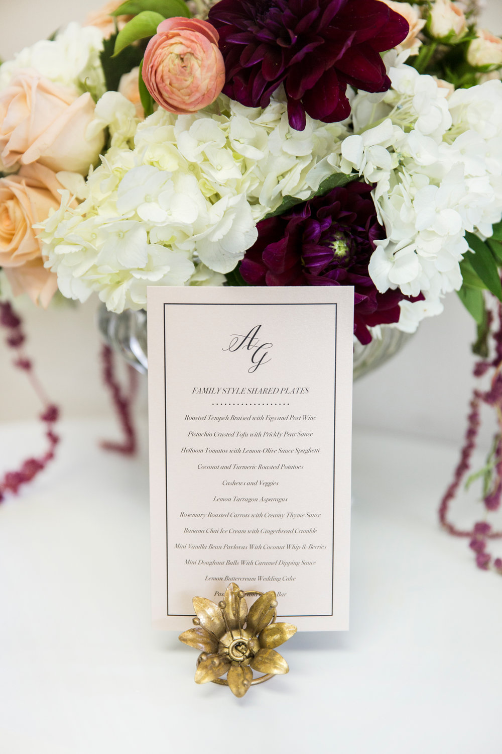 Champagne Press Wedding Menu