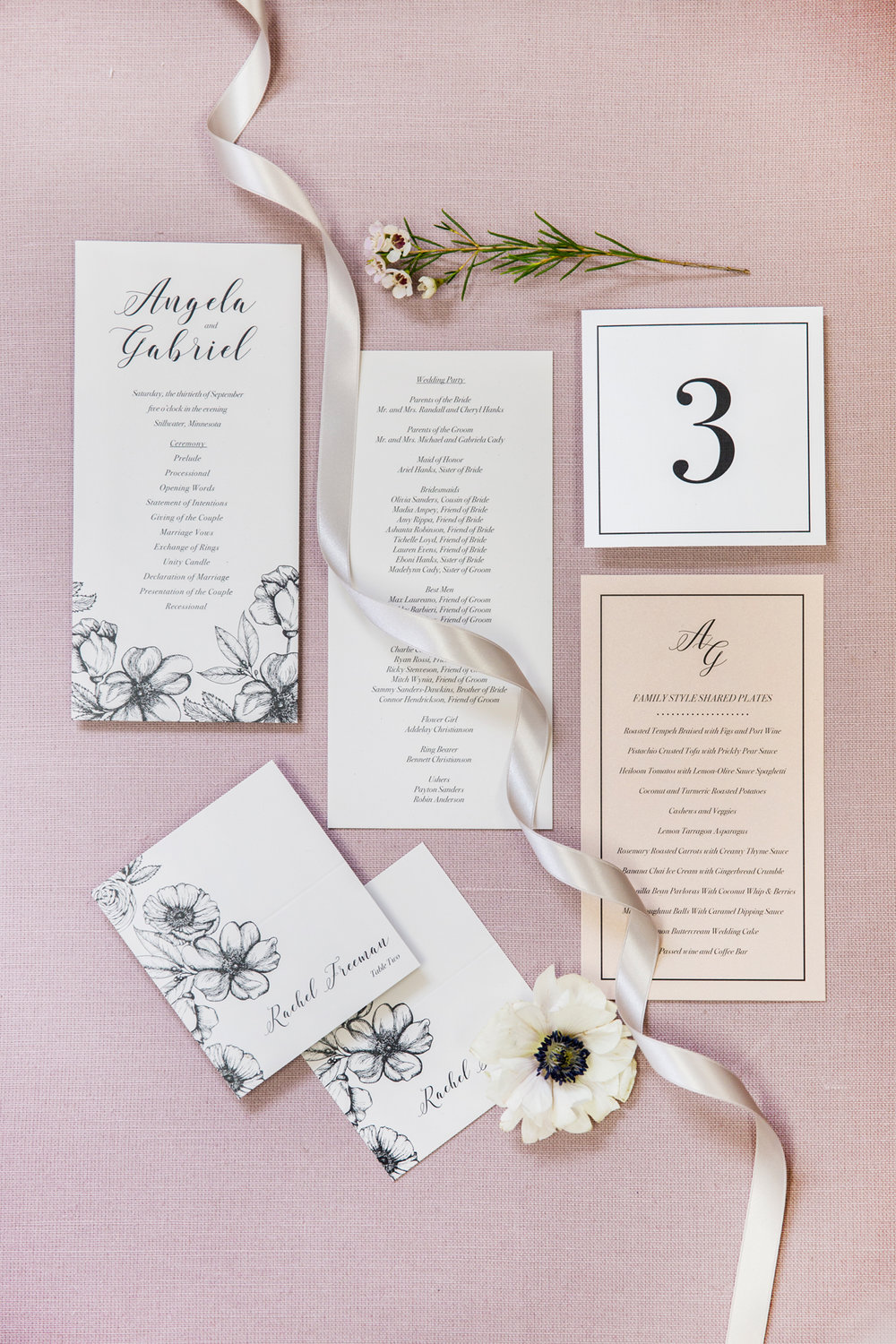 Wedding Day Paper Goods Programs Table Number Escort Cards Menu
