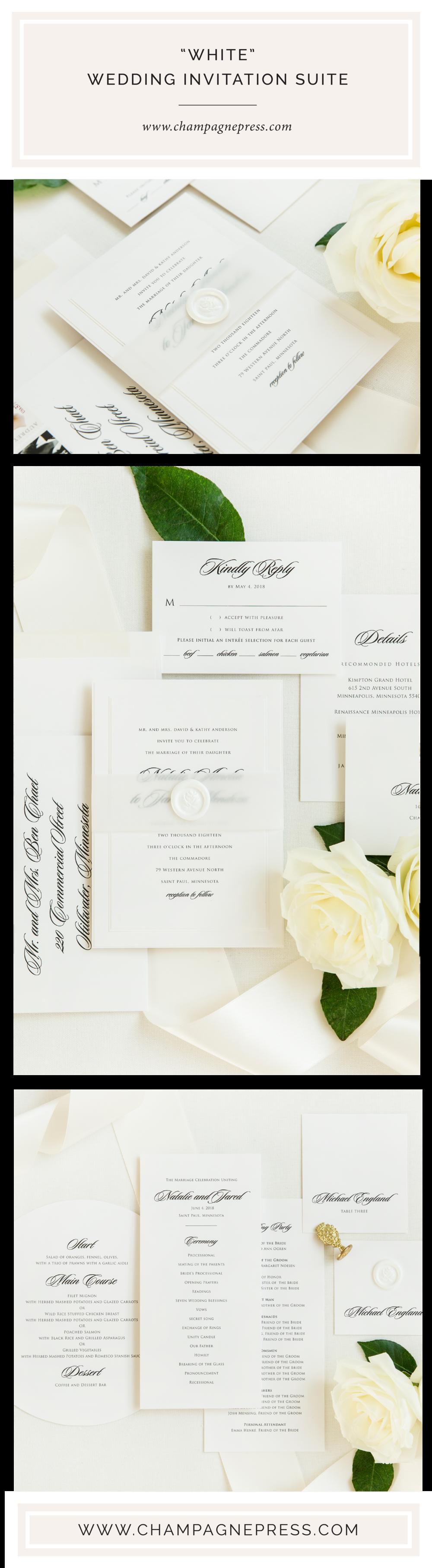 Champagne Press White Classic Wedding Invitation Suite