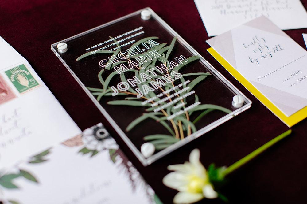 Champagne Press Acylic Wedding Invitation