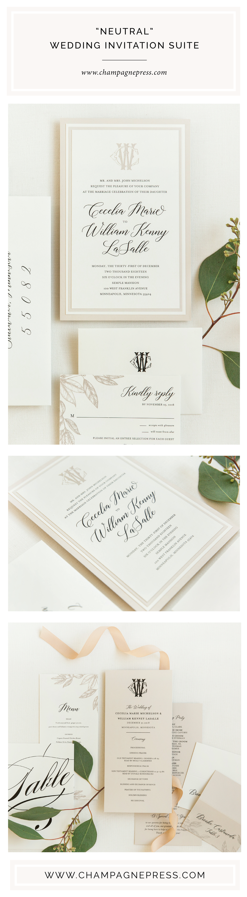 Champagne Press Neutral Wedding Invitation Suite