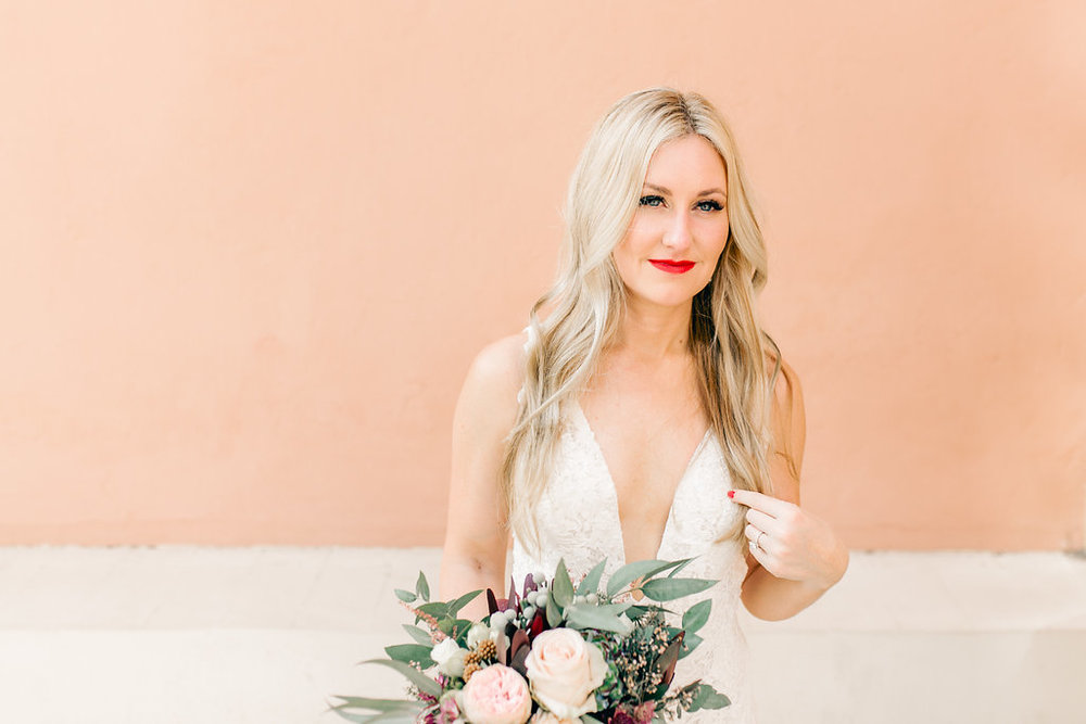 Bride Portrait Living Coral Pantone 2019 Vienna Glenn Wedding Photography