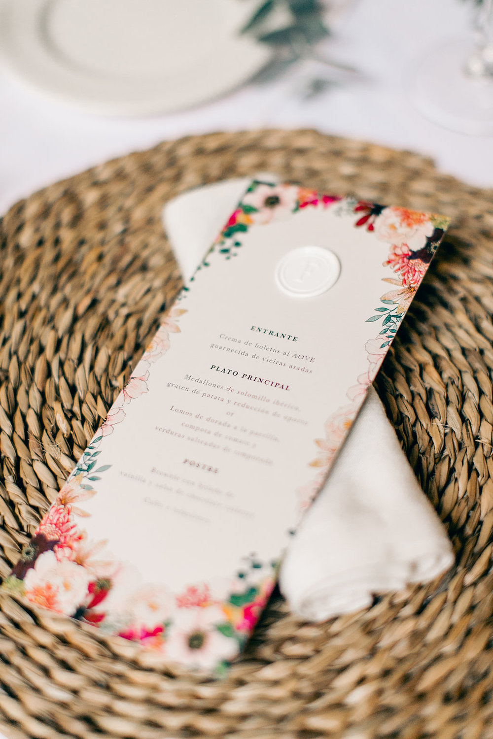 Wedding Menu Wax Seal Spain Luxury Wedding Vienna Glenn Wedding Photography