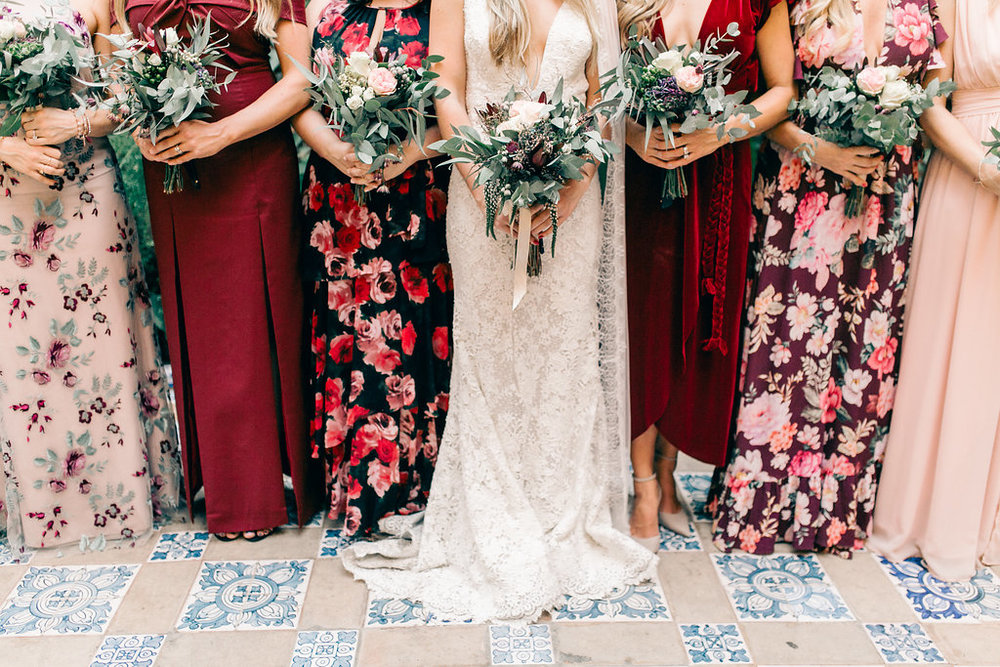 Burgundy and Blush Mismatched Bridesmaid Dresses Vienna Glenn Photography