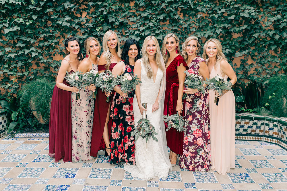 Mismatched Bridesmaid Dresses Spain Luxury Wedding Vienna Glenn Photography