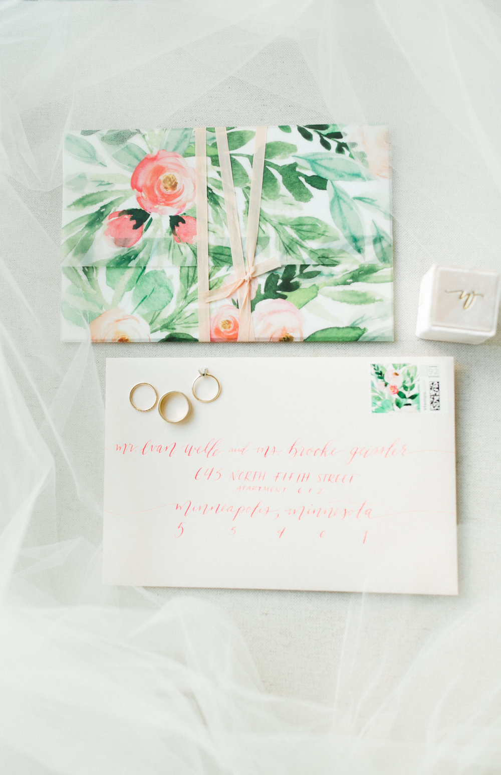 Champagne Press Custom Wedding Invitation Hooked Calligraphy Envelope