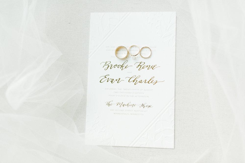 Champagne Press Custom Letterpress + Foil Wedding Invitation