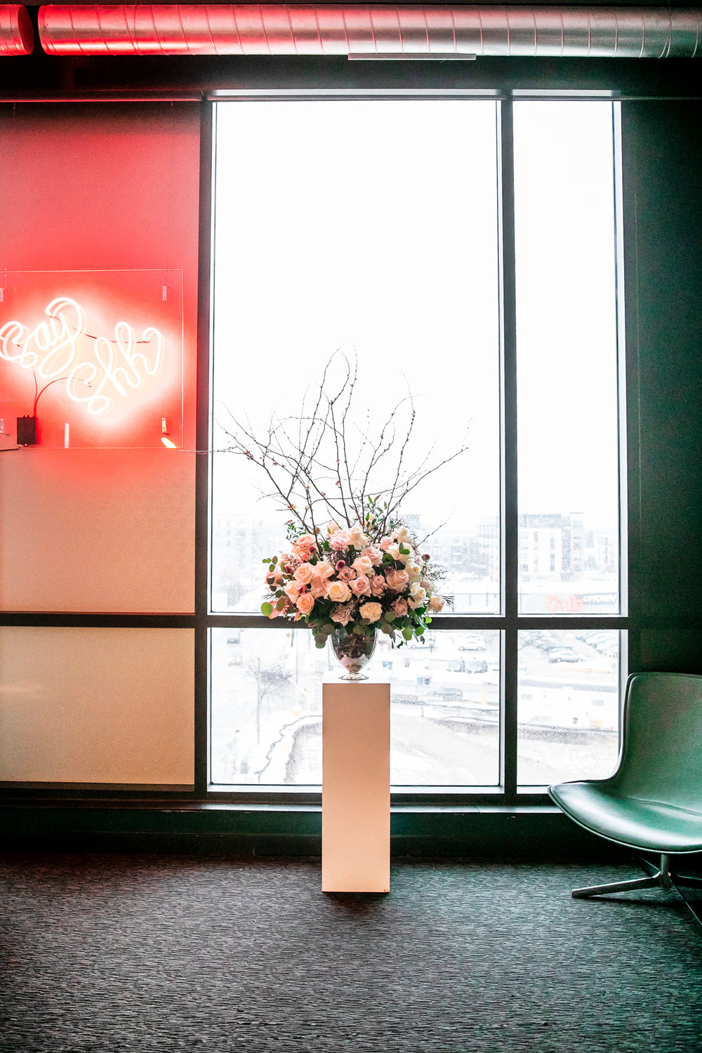 Moxy Hotel Wedding Blush and Greenery Floral Arrangement.jpg