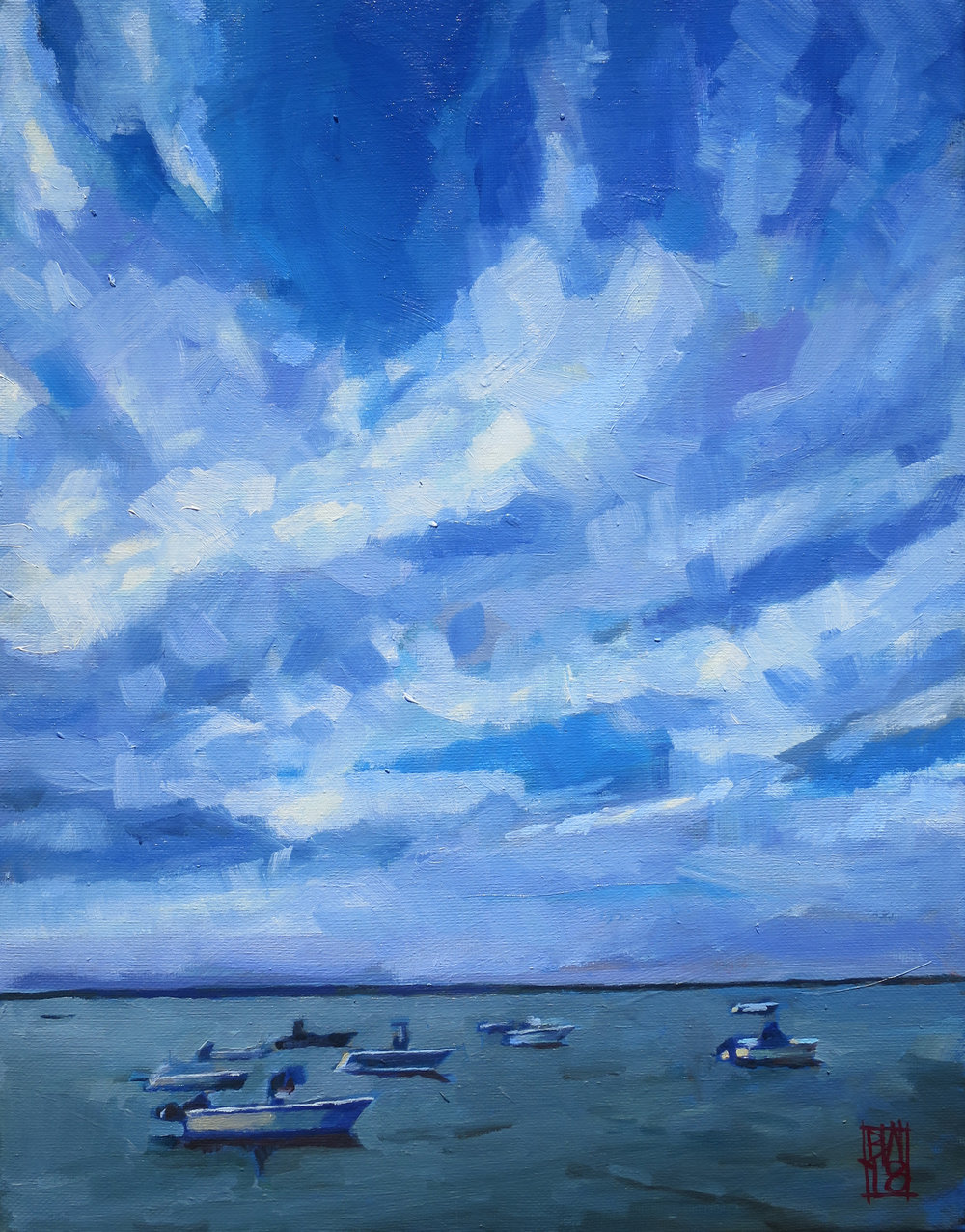 "Boats Beneath a Cloudy Sky, 11"" x 14"", oil on canvas"
