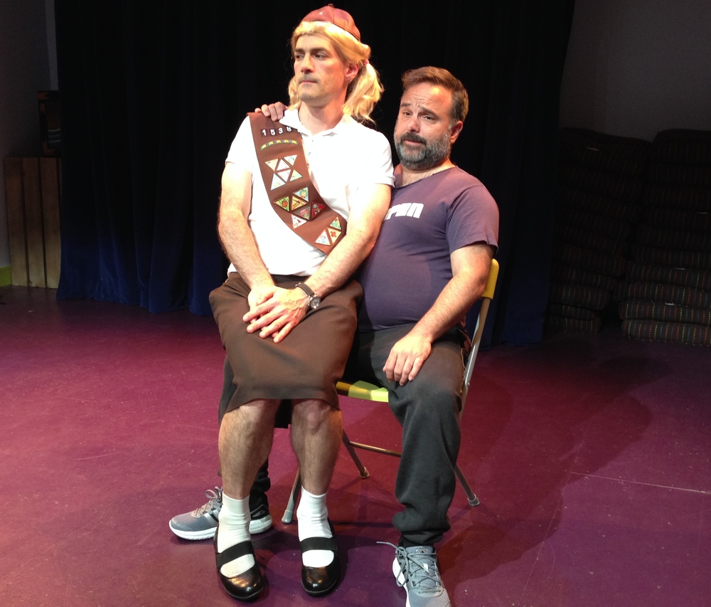 Mark Rubin as Jenny1538 and Brent Askari as Dominic Franconia in the PortFringe production of JENNY1538 in Portland, ME, June 2014.