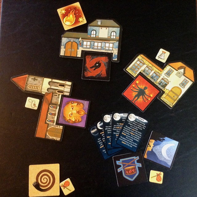 Components from Werewolves: The Pact. Note the lack of words on the tiles. Photo by Teresa Jackson