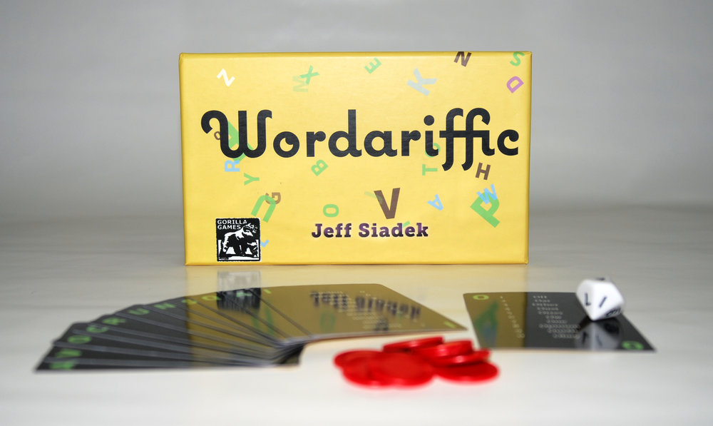 Wordariffic is a small game with an interesting concept. You build words from the letters in your hand, and you try to impress on a judge that your word best fits a category you roll for.