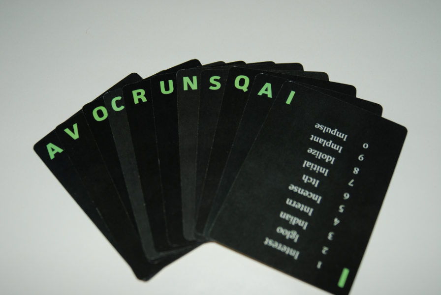 Here's a truly random hand of cards. You'll be using them to try to make a word that relates to: