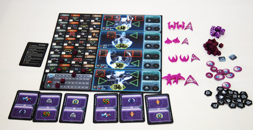 The player board for Proxima Centauri boasts a technology tree, which is one of the coolest elements of the game. Each player also has a set of cards, with actions to choose from.
