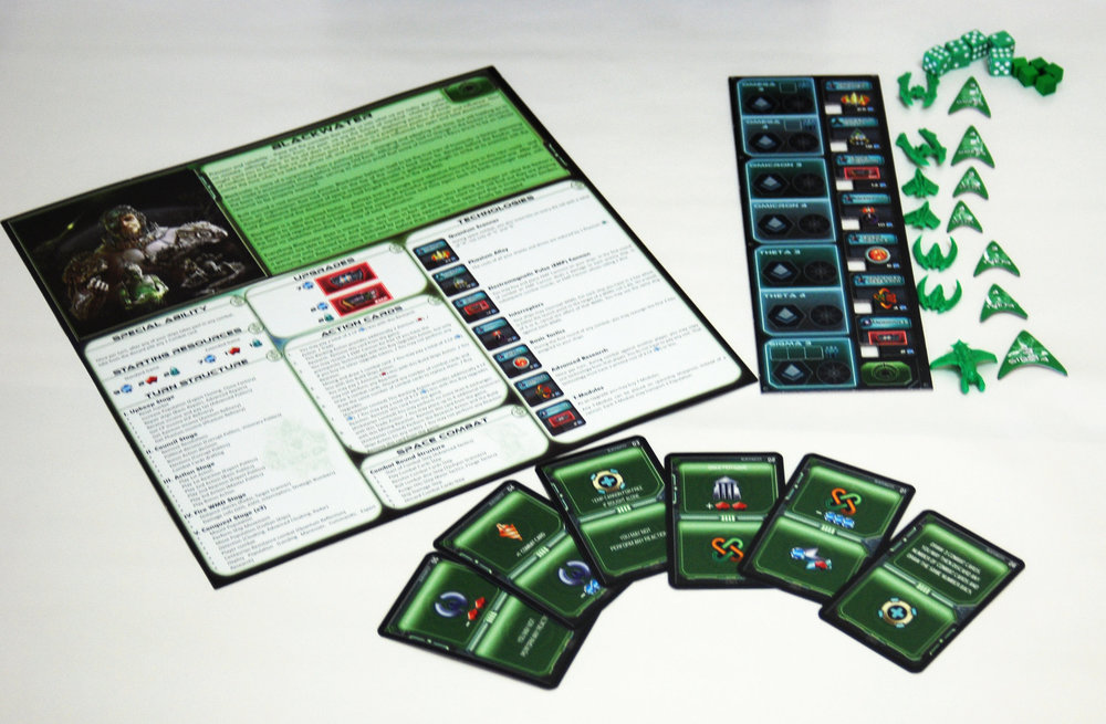 Here's all the extras Edge of Extinction gives each player. Oh, yes, that is more technology, and those are specialized action cards.