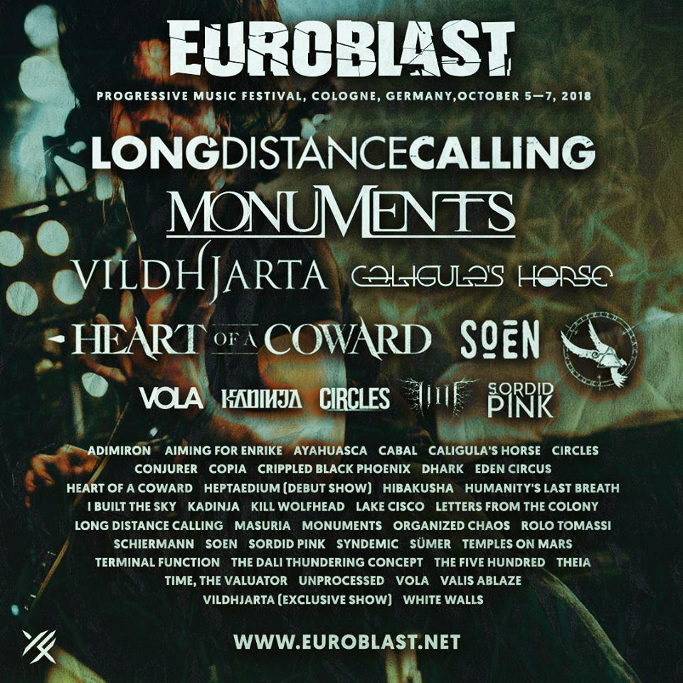 Line-up for Euroblast 2018.