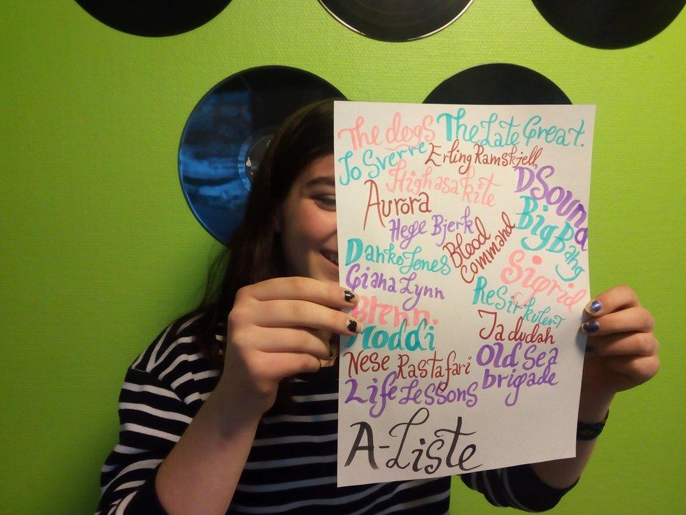 Sandra har plukket ut artister til A-lista