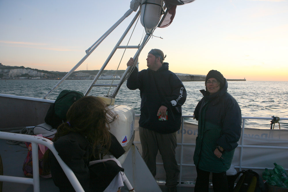 Meg O'Doherty and Bill McConnell (Eileen in the foreground) approaching Dover at dawn following the English Channel Swim.
