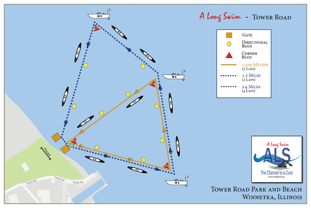 Course map for swimmers, safety personnel and lifeguards for 2.4 miles, 1.2 miles and 1,500 meters.  5K course map will be distributed at the event.