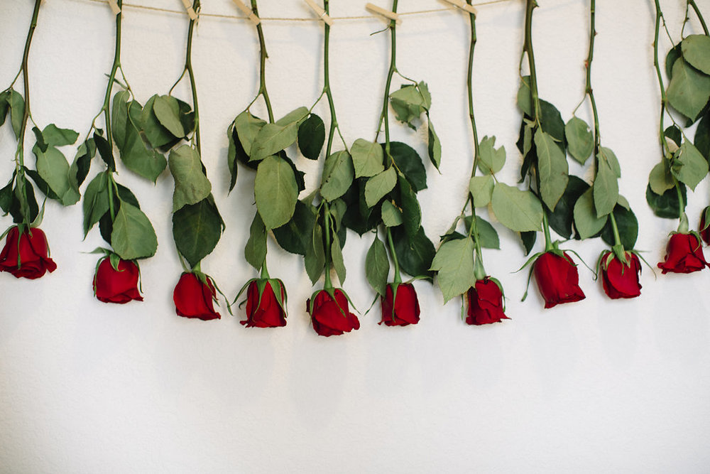 We strung 12 roses across the wall to symbolizes 12 months of life. A first birthday must!