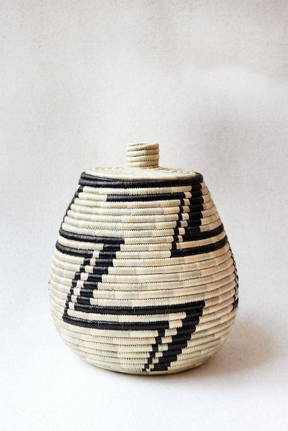 Hand Woven Lidded Basket