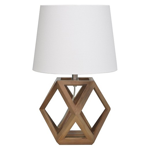 Geometric Figural Wood Accent Lamp