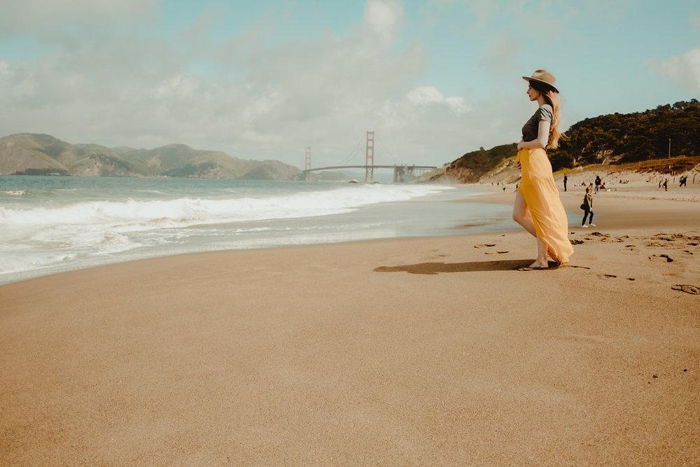From Baker Beach you can get stunning views of the Golden Gate Bridge.