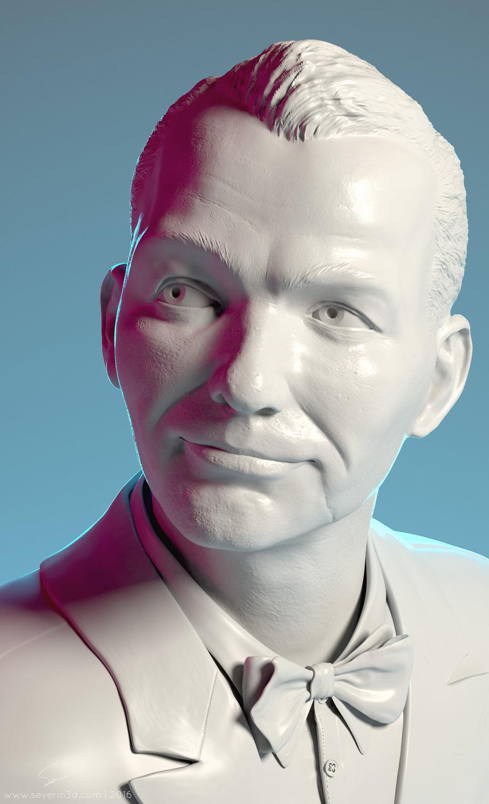 Frank Sinatra bust 3d render closeup with signature
