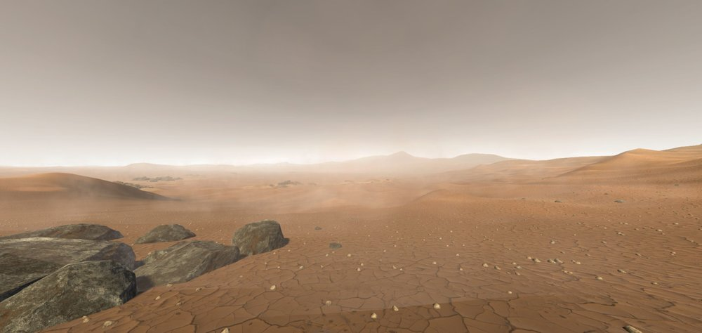 Mars Eberswalde crater 360 VR journey. Screenshot of panoramic video rendering made with Unity 3d.