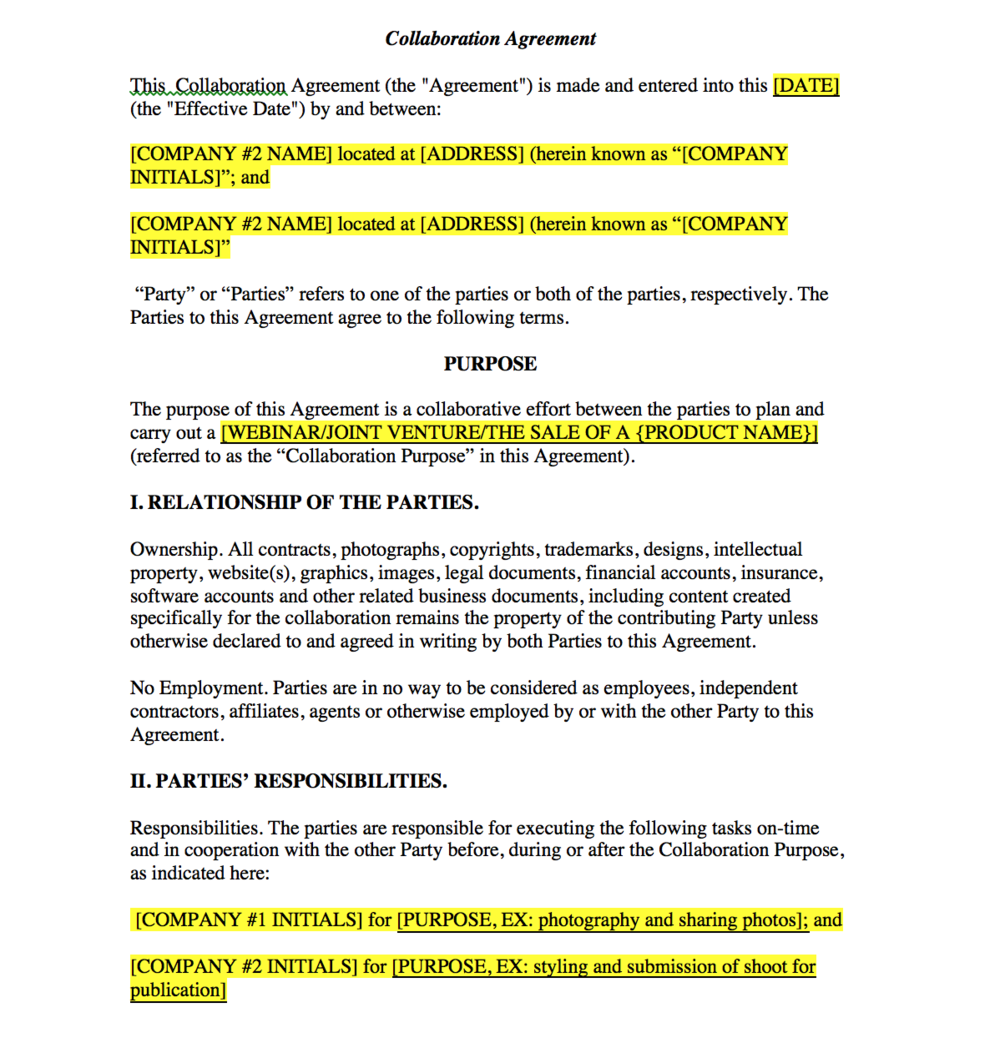 Blogger Or Collaboration Contract Template For Collaborations And Joint  Ventures