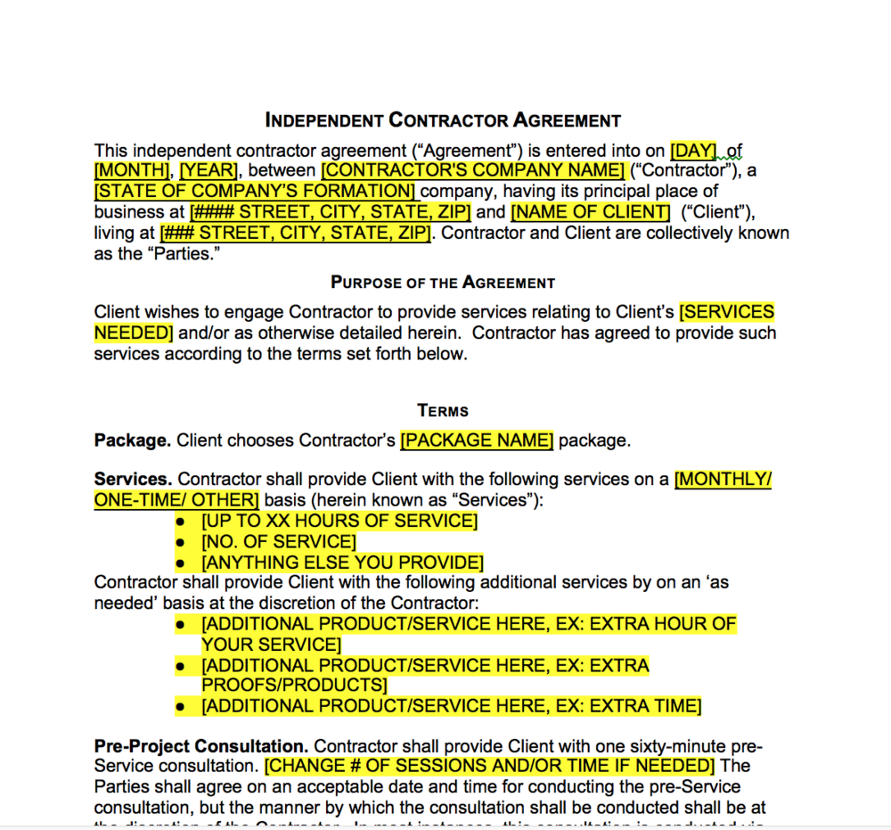 Free Independent Contractor Agreement Template