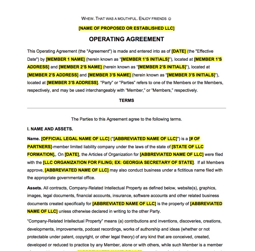 Llc Partnership Agreement Template Free