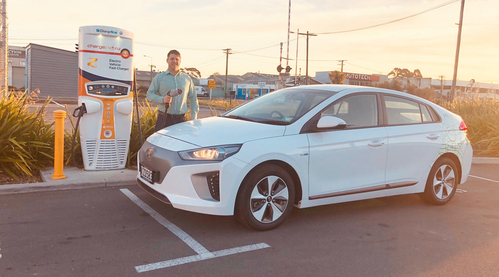 Sam Drummond, Traverse CEO exploring a Hyundai Ioniq