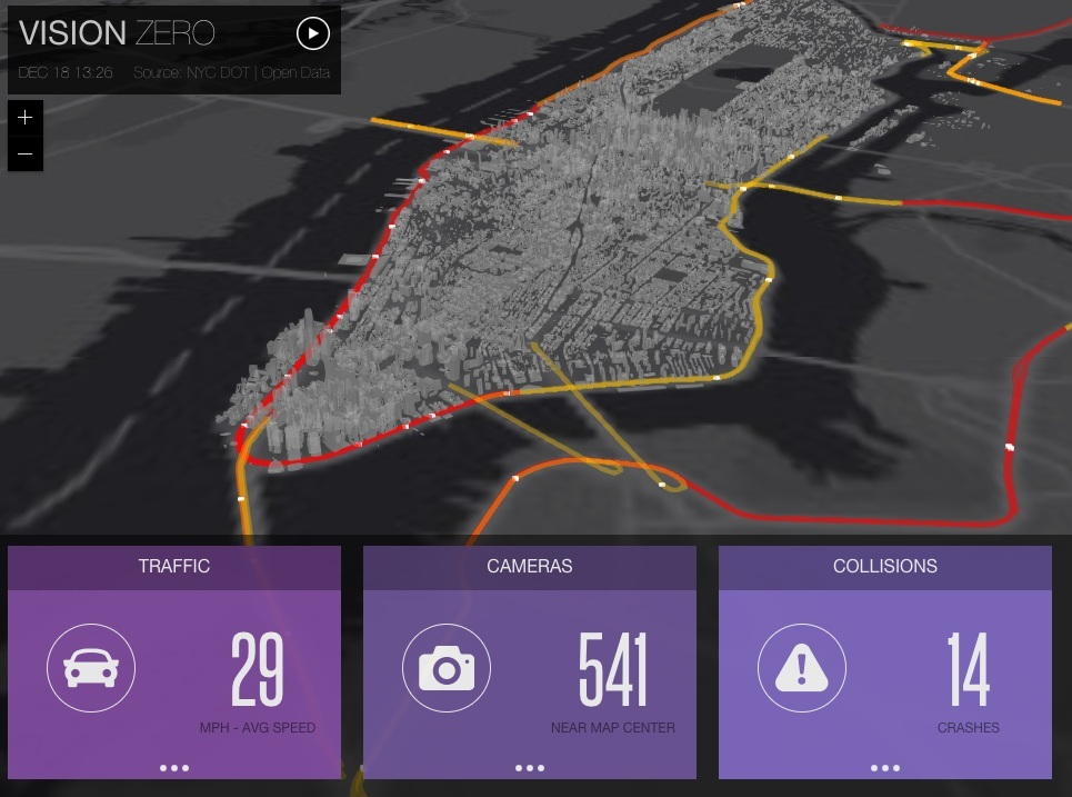 Vision Zero Dashboard  shows current traffic conditions along major roads, including recently reported accidents, in New York City