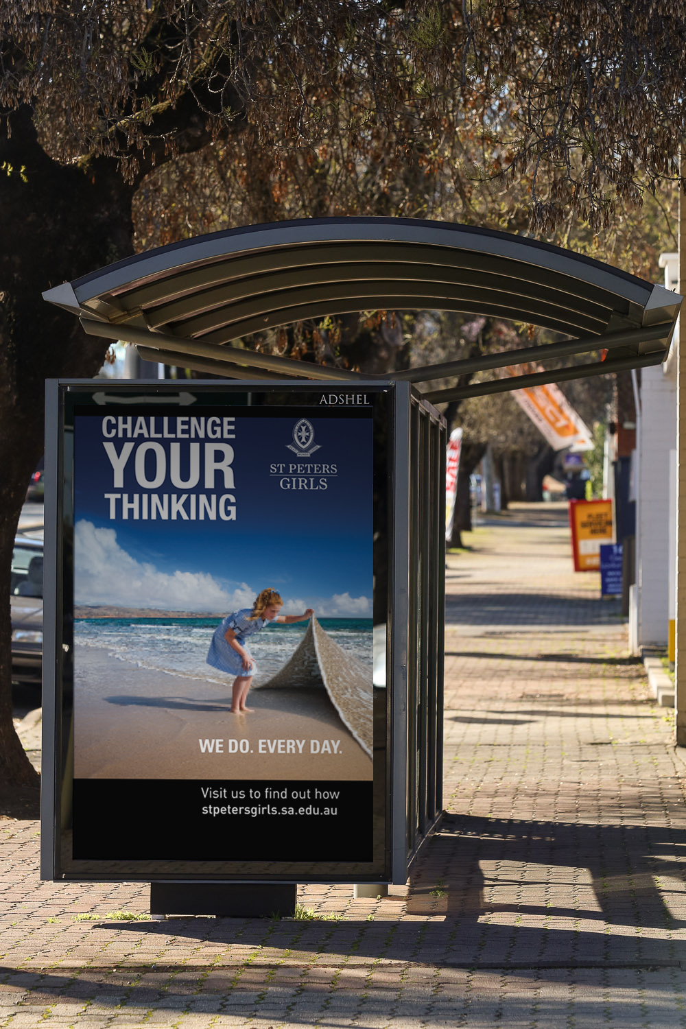 One of the bus shelters out and about in Adelaide.