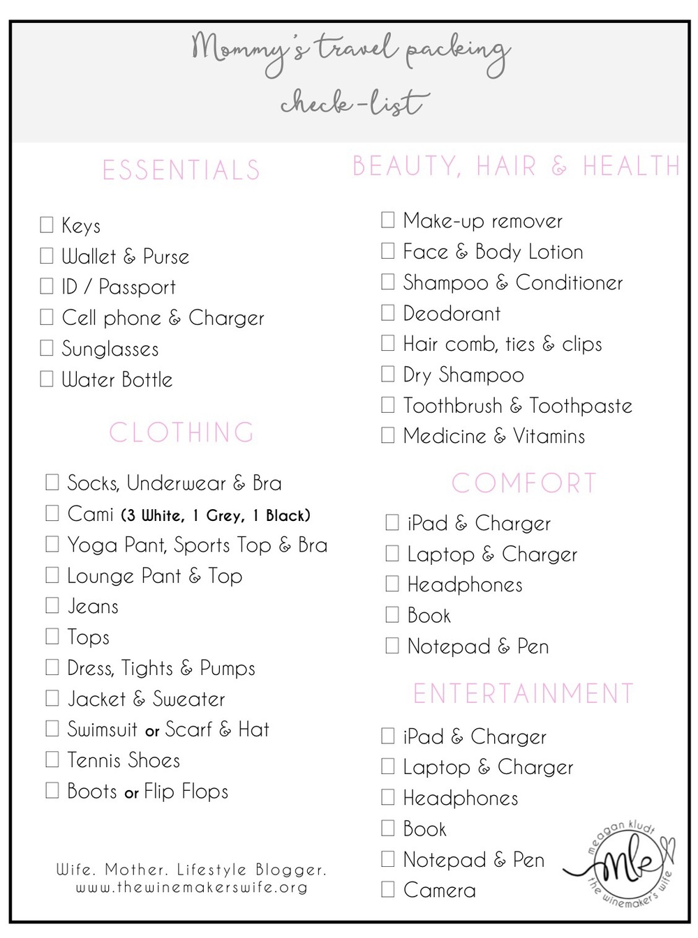 Mommy's travel packing check-list | free printable | the winemakers wife