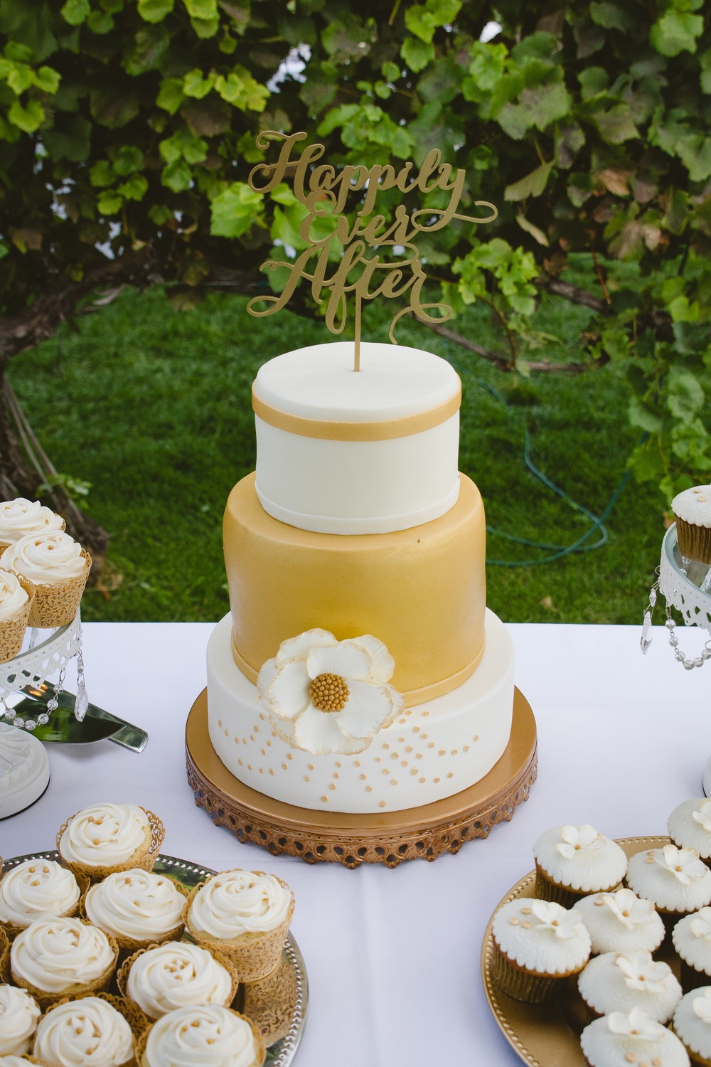 Sweet Crumbs - A Wedding Cake Dream • Wedding Cale • Wedding Cupcakes • Gold • Lake Chelan WA • The Winemakers Wife • Meagan Kludt
