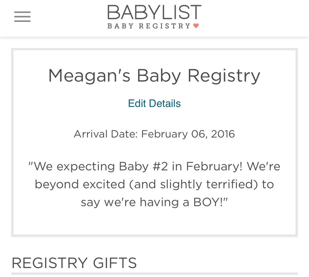 Baby List Registry | Meagan Kludt
