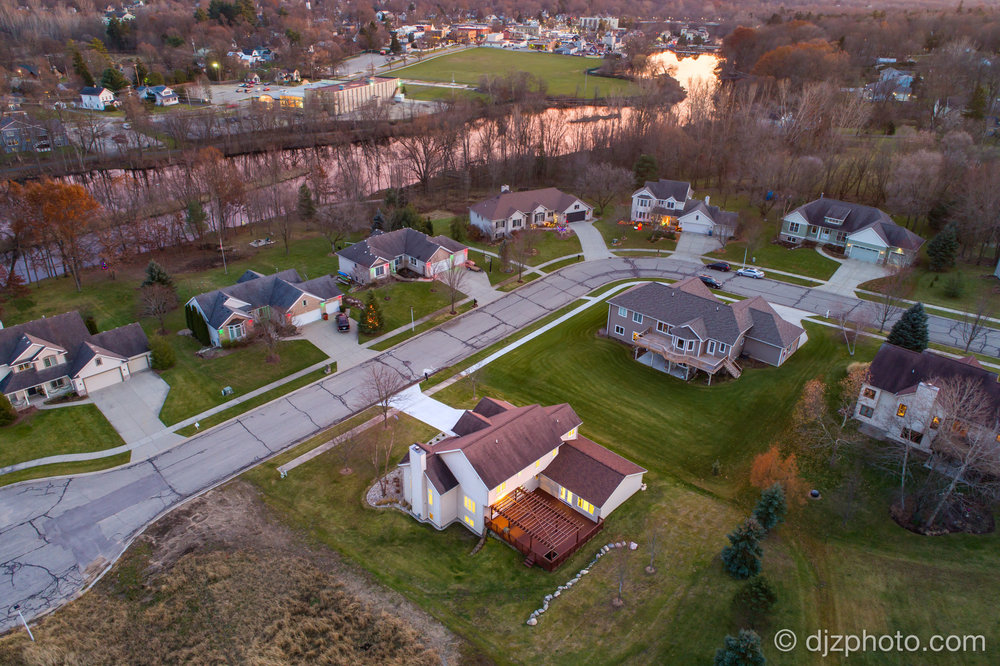 Aerial Drone Twilight Photo in Rockford, MI
