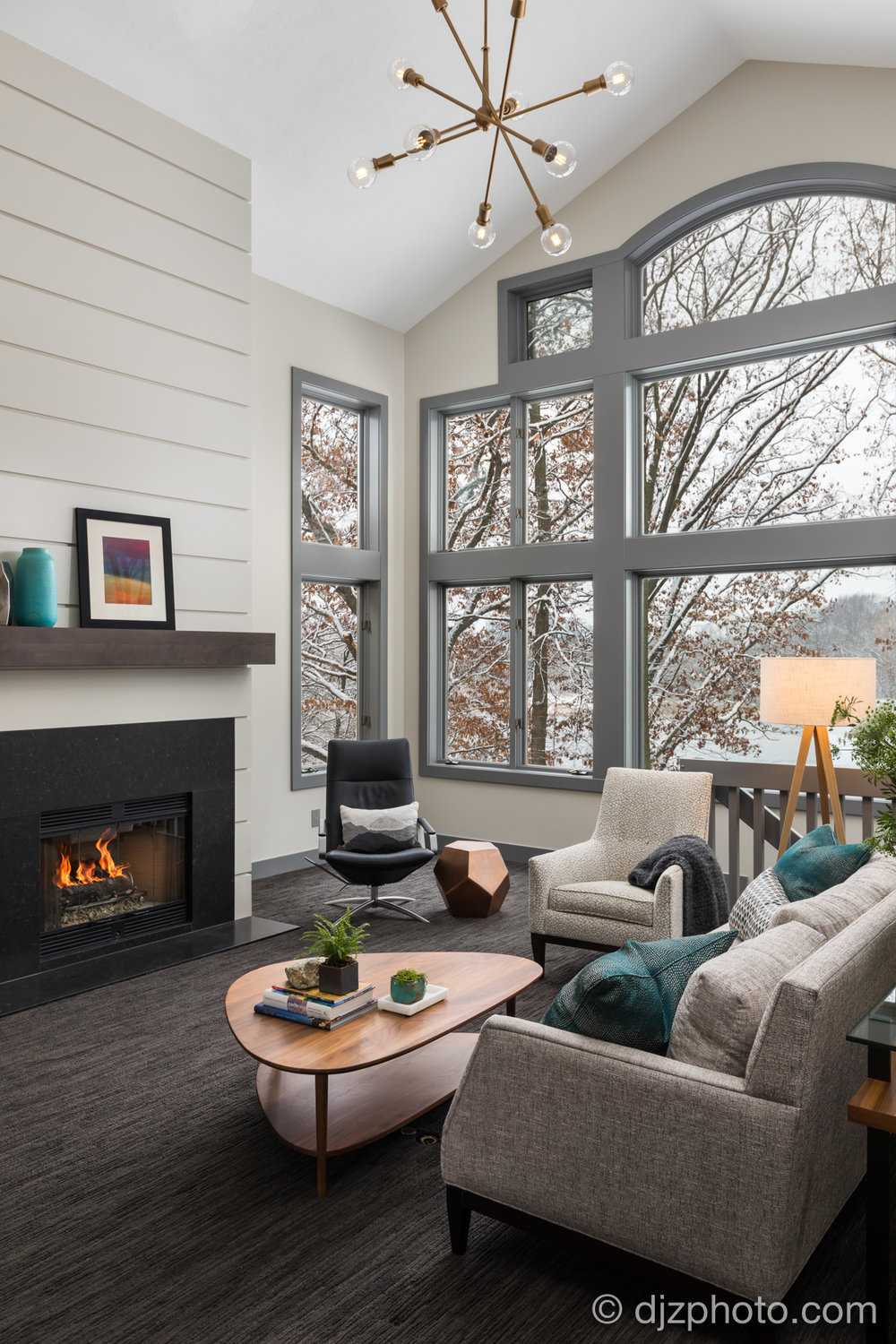 Winter Living Room with a Fireplace