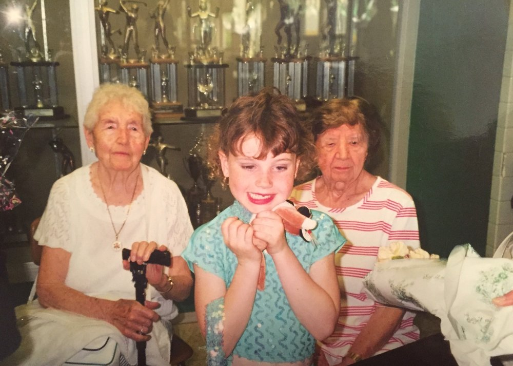 From L to R: Great Grandma Molly, Noelle, Great Aunt Kate. R.I.P. <3