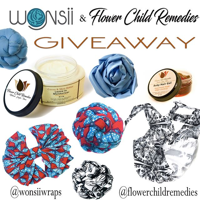 Giveaway time! @wonsiiwraps and @flowerchildremedies are teaming up for a summer giveaway!! To enter all you have to do is: 1. Be following @wonsiiwraps & @flowerchildremedies 2. Tag 3 people in separate comments who you think would love these hair wraps and hair products (more tags = more entries) 🌺 •  #wonsii #wonsiiwrap #flowerchild #flowerchildremedies #fashion #turban #melanin #naturalhair #relaxedhair #braids #locs #naturalhairgoals #naturalhairchat #naturalhairdaily #naturalhairdreams #headwrapqueen #headwraps #style #protectivestyles #beauty