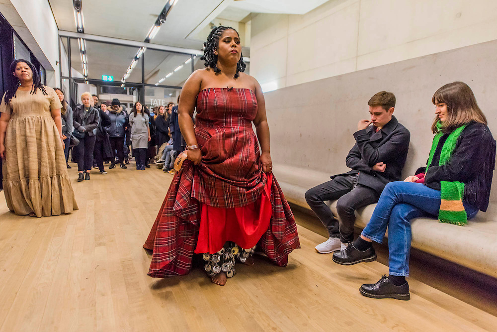 """Bumbray performing """"Aluminum,""""along with artist Simone Leigh at Tate Modern in November 2016 as part of Leigh's residency at Tate Exchange."""