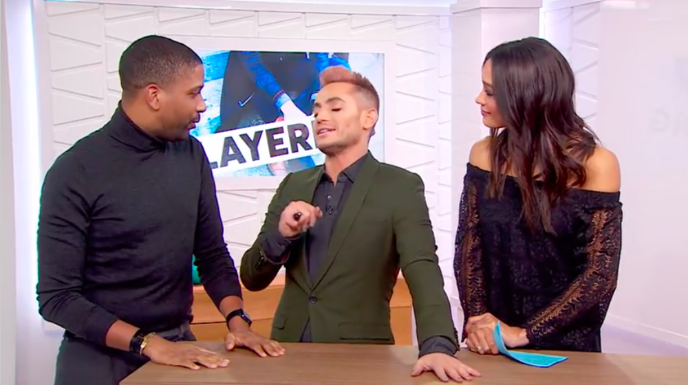 """Satchell appearing on a segment of Amazon's """"Style Code Live"""" to discuss layering fashion trends."""