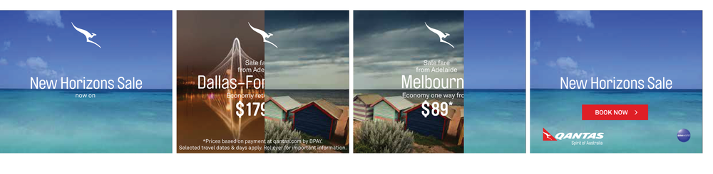 A visual device using the horizon line made this flight sale ad very hard to ignore.