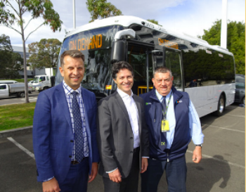 Transport Minister Andrew Constance, Ryde MP Victor Dominello with local bus driver.  Credit: TWT